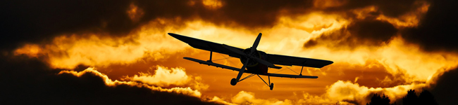 voyagiste _ avion dans coucher soleil