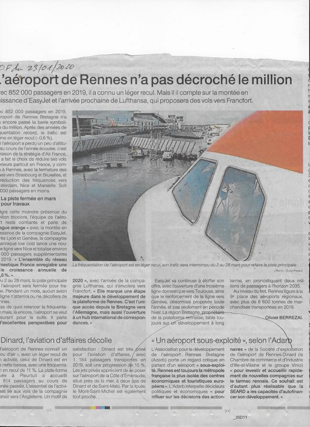 Ouest France 23 janvier 2020